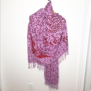 Lucky Brand Embroidered Peace Love Blanket Scarf